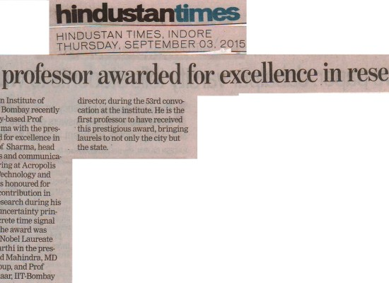 Hindustan Times_Dr.Manish Sharma awarded for excellence in research